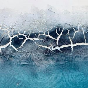 Crackle Paste 3D art, white and turquoise