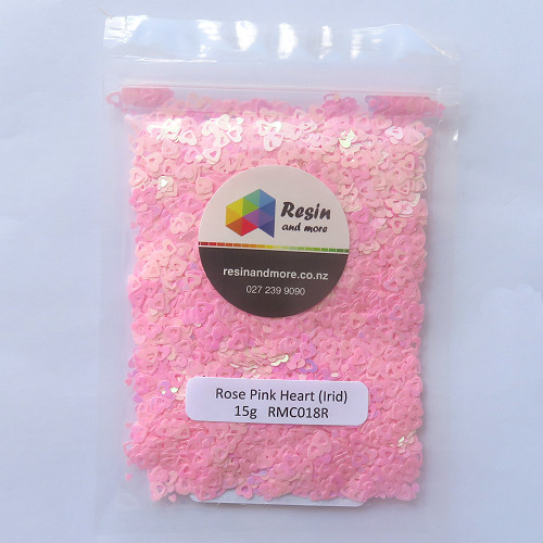 Rose pink heart glitter RMC018R by Resin and More