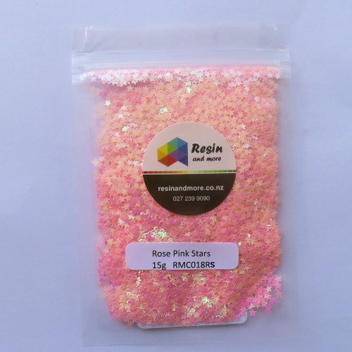 Rose pink stars glitter RMC018RS by Resin and More-500x500