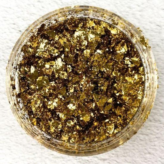 rich gold metallic foil flakes