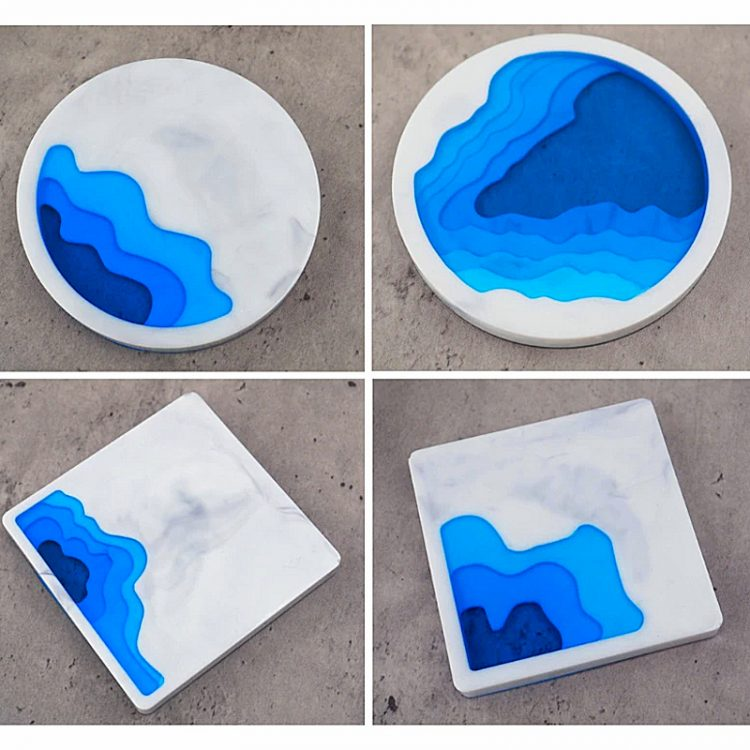 Silicone coaster moulds creating terraces
